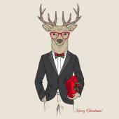Merry Christmas deer  in tuxedo
