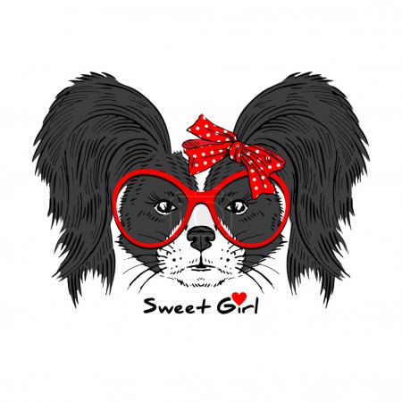 Doggy girl hipster in glasses and bow
