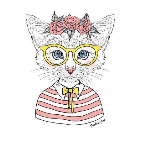 Illustration pour Hipster fille belle kitty dans les verres et guirlande rose isolé sur blanc - image libre de droit