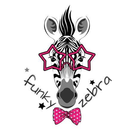 Illustration for Fashion portrait of funky zebra on white background - Royalty Free Image