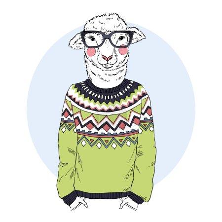 Lamb in jacquard pullover