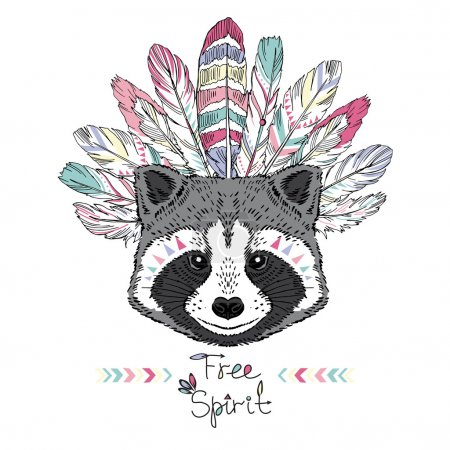 Illustration for Raccoon aztec style, hand drawn animal illustration, native american poster, t-shirt design - Royalty Free Image