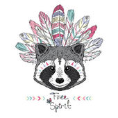 Raccoon aztec style illustration