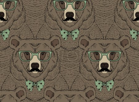 Illustration for Animal pattern, bear print, hipster fashion design - Royalty Free Image