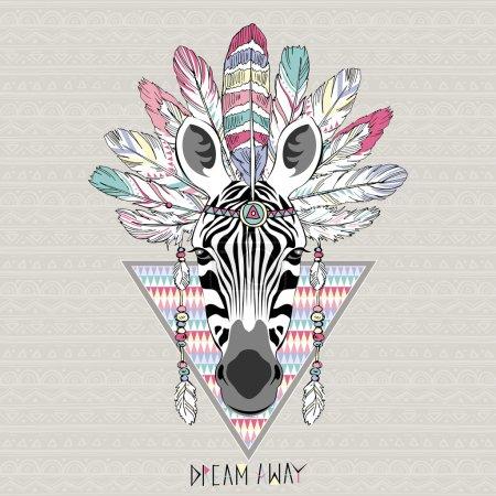 Illustration for Animal illustration, aztec zebra, native american poster - Royalty Free Image
