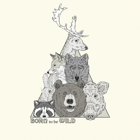 Illustration pour Imprimé animal sauvage forêt, t-shirt design - image libre de droit