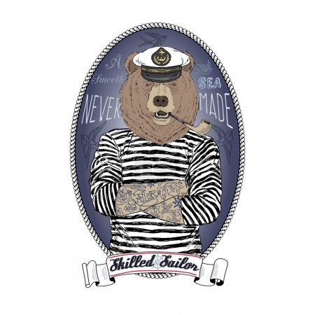 Bear sailor, nautical poster