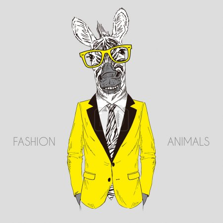Illustration for Smily zebra boy dressed up in office suit, fashion animal illustration, anthropomorphic design, furry art, hand drawn graphic - Royalty Free Image