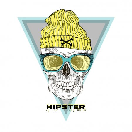 Hand drawn hipster scull