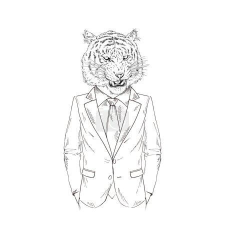 Roaring tiger dressed up