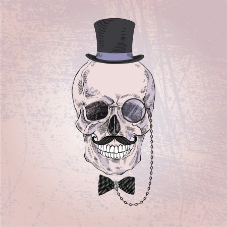 scull of gentleman in tall hat