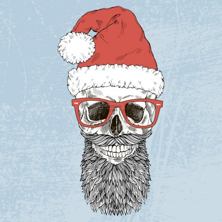 Hand drawn Santa scull