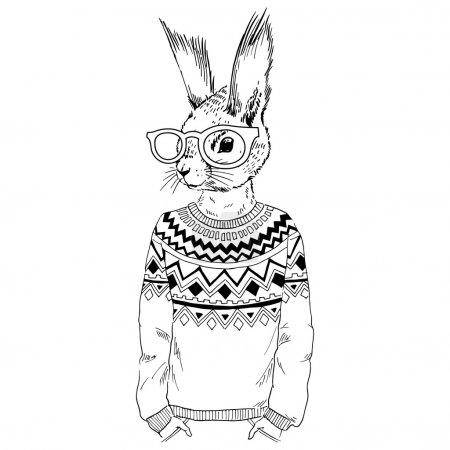 Squirrel hipster dressed up in jacquard pullover, ...