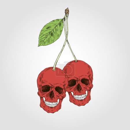 Hand drawn scull cherries