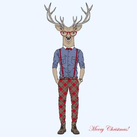 Joyeux Noël Hipster Deer caractère
