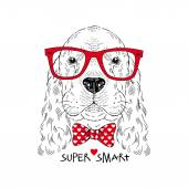 cute portrait of dog hipster
