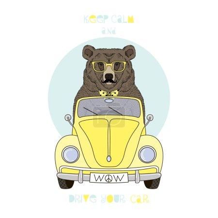 Illustration pour Ours conduite voiture rétro jaune, illustration enfant, design textile - image libre de droit