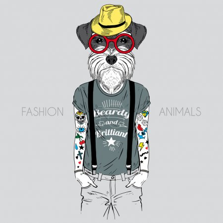 Illustration for Illustration of dog hipster with tattoo dressed up in t-shirt with quote - Royalty Free Image