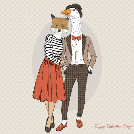 hipster couple of fox and goose
