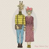 hipster couple of giraffe and leopard