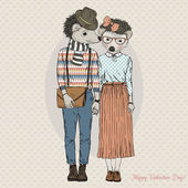 hipster couple of hedgehogs