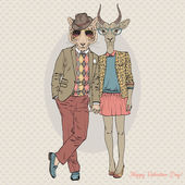 Fashion couple of tiger boy and antelope girl Valentine Day design