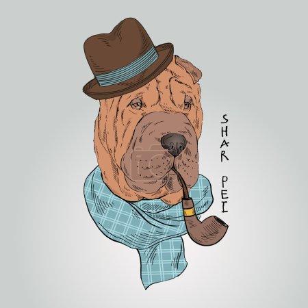 shar pei dog with tobacco tube