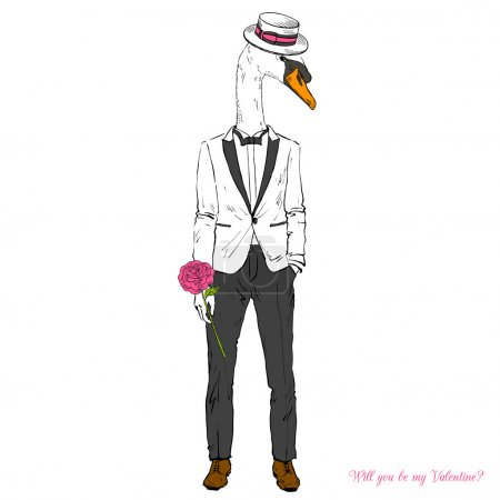 Illustration for Elegant swan boy dressed up in white suit with pink rose, furry art illustration, Happy Valentine Day design - Royalty Free Image