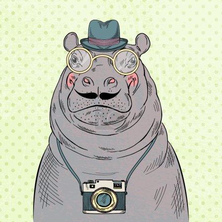 Illustration pour Portrait mignon de hipster boy hipster avec caméra, graphique dessiné à la main, animal hipster - image libre de droit