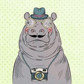Hippo hipster boy with camera