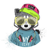 Raccoon boy dressed up in cool hip hop style with headphones hand drawn graphic hipster animal portrait