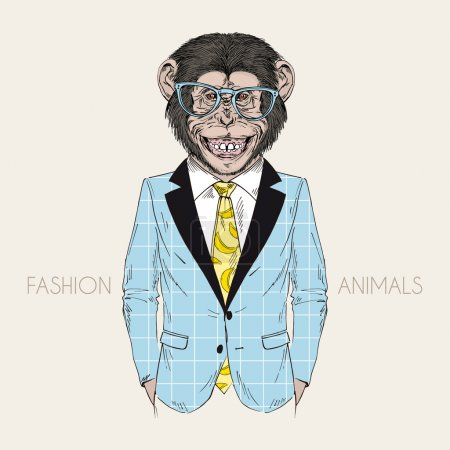 Smiling chimpanzee in business suit