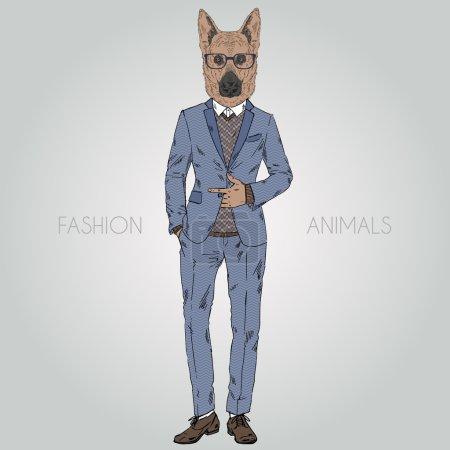 German Shepherd dressed up in suit