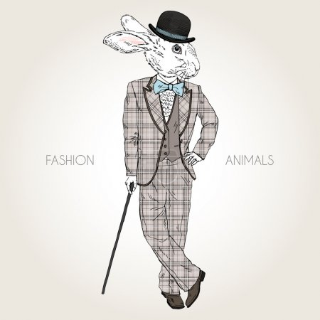 rabbit dressed up in retro style
