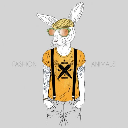cool hare hipster boy