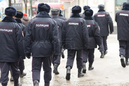 Russian police at a protest rally, Russia.