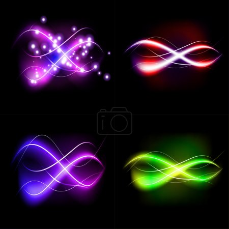 Set illustration of colorful abstract background blurred magic neon light curved lines with place for your text.