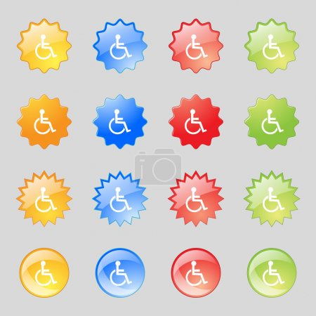 Disabled sign icon. Human on wheelchair symbol. Handicapped invalid sign. Set colourful buttons Vector