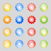 Central Processing Unit Icon Technology scheme circle symbol Set colourful buttons Vector