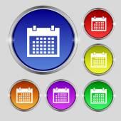 Kalendář Ikona podepsat. dny měsíce symbol. tlačítko datum. nastavit colur tlačítka. vektor