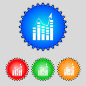 Text file icon Add document with chart sign Accounting symbol Set colour buttons Vectorns Vector