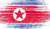 Flag of North Korea with old texture Vector illustration