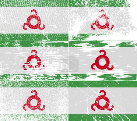 Flag of Ingushetia with old texture. Vector