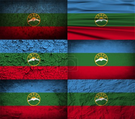Flag of Karachay-Cherkessia Republic, Russia with old texture. Vector