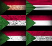 Flag of Sudan with old texture Vector illustration