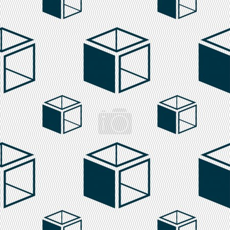 Illustration for 3d cube icon sign. Seamless pattern with geometric texture. Vector illustration - Royalty Free Image