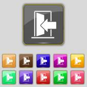 Door, Enter or exit icon sign. Set with eleven colored buttons for your site. Vector