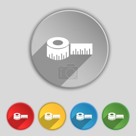 Roulette construction icon sign. Symbol on five flat buttons. Vector