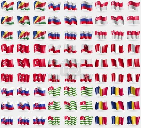 Seychelles, Russia, Singapore, Turkey, Gibraltar, Peru, Slovakia, Abkhazia, Chad. Big set of 81 flags. Vector
