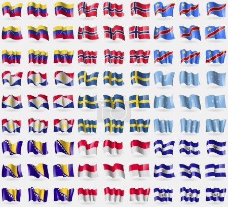 Venezuela, Norway, Congo Democratic Republic, Saba, Sweden, Micronesia, Bosnia and Herzegovina, Monaco, El Salvador. Big set of 81 flags. Vector